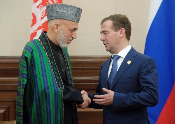 Hamid Karzaï et Dmitri Medvedev  à Astana - Sputnik France