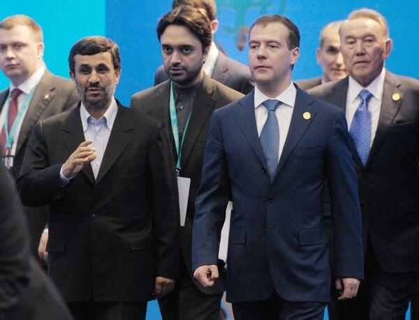 Les présidents iranien, russe et kazakh Mahmoud Ahmadinejad, Dmitri Medvedev et Noursoultan Nazarbaïev  - Sputnik France
