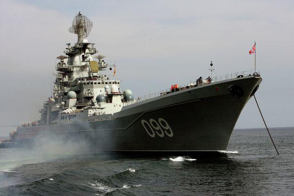 Le croiseur nucléaire lourd russe Petr Veliki (archives) - Sputnik France