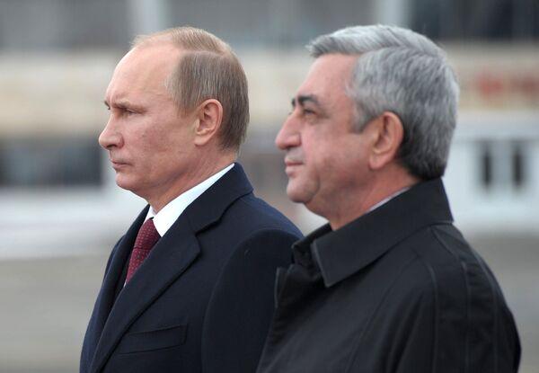 Le président arménien Serge Sargsian (à droite) avec son homologue russe Vladimir Poutine. - Sputnik France