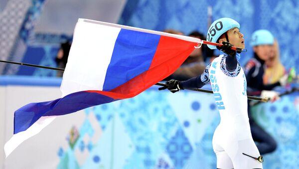 Виктор Ан (Россия) после финального забега на 1000 метров в соревнованиях по шорт-треку среди мужчин - Sputnik France