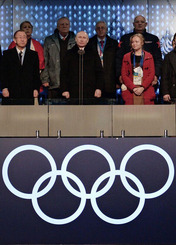 Ban Ki-moon et Vladimir Poutine lors de la cérémonie d'ouverture des Jeux Olympiques d'hiver à Sotchi XXII - Sputnik France