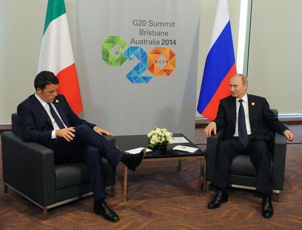 Premier ministre italien Matteo Renzi et président russe Vladimir Poutine - Sputnik France