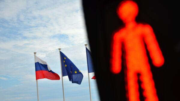 Флаги России и ЕС на набережной Ниццы. Архивное фото - Sputnik France