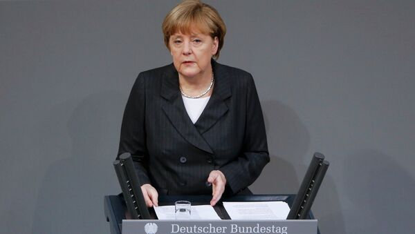 German Chancellor Angela Merkel speaks at a session of the lower house of parliament Bundestag in Berlin, January 15, 2015. - Sputnik France